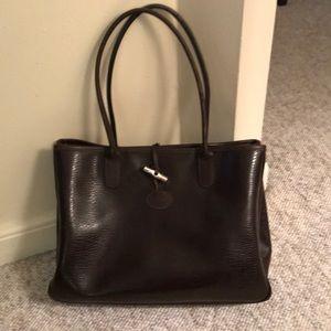 Longchamp VEUC brown leather snap clasp snap side